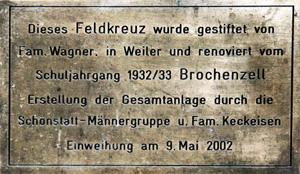 Wegkreuze in Brochenzell_werdenbergstr_schild